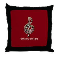 Cute I love music Throw Pillow