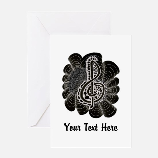 Customizable Black with White Treble Clef Greeting