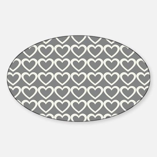 Back to School Sweet Cream Grey Hearts Pattern Sti