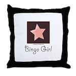 Bingo Girl Brown Center Square Pink Star Pillow