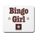 Bingo Girl Brown Center Square Pink Stars Mousepad