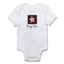 Bingo Girl Brown Center Square Pink Star Onesie