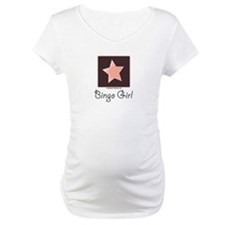 Bingo Girl Center Square Pink Star Maternity Tee