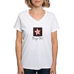 Bingo Girl Brown Center Square Pink Star V neck T
