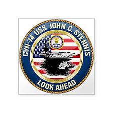 "CVN-74 USS John C. Stennis Square Sticker 3"" x 3"""