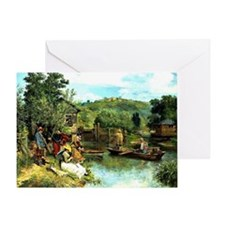 The Fishing Party - Francois Grison Greeting Card