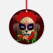 Skull Girl Dia de los Muertos Ornament (Round)