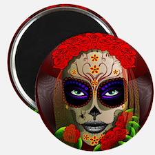 Skull Girl Dia de los Muertos Magnets