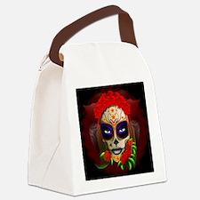 Skull Girl Dia de los Muertos Canvas Lunch Bag