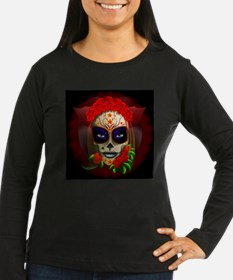 Skull Girl Dia de los Muertos Long Sleeve T-Shirt
