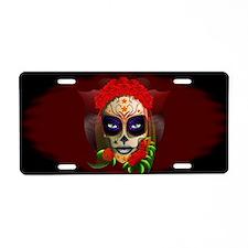 Skull Girl Dia de los Muertos Aluminum License Pla