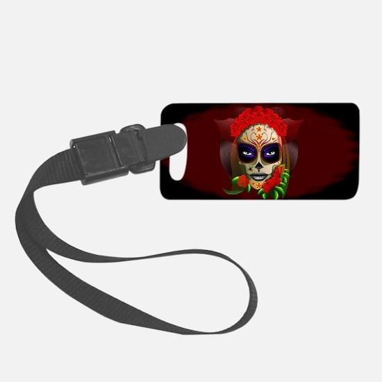 Skull Girl Dia de los Muertos Luggage Tag