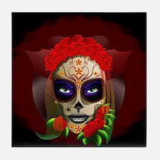 Skull Girl Dia de los Muertos Tile Coaster