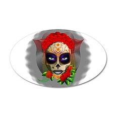 Skull Girl Dia de los Muertos Wall Decal