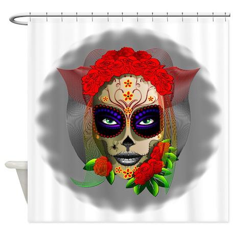 Skull Girl Dia De Los Muertos Shower Curtain By Bluedarkartgifts