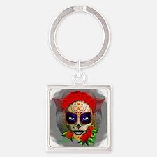 Skull Girl Dia de los Muertos Keychains