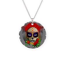 Skull Girl Dia de los Muertos Necklace