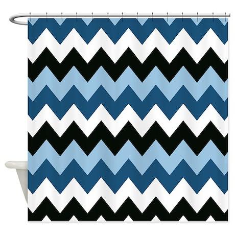Blue And Black Chevron Shower Curtain By Chevroncitystripes