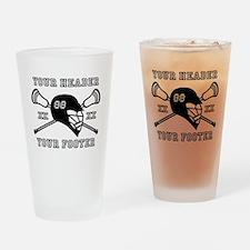 Lacrosse Team Black Alpha Drinking Glass