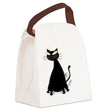 Black Fat Cat Canvas Lunch Bag