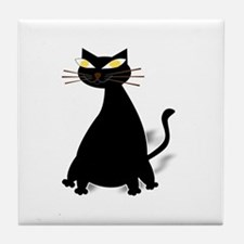 Cute Fat black cats Tile Coaster