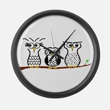 Three Little Owls Large Wall Clock