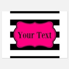 Personalizable Pink Black Striped Invitations