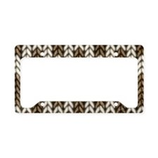 Brown Knit Graphic Pattern License Plate Holder