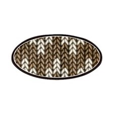 Brown Knit Graphic Pattern Patches