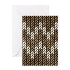 Brown Knit Graphic Pattern Greeting Cards
