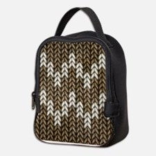 Brown Knit Graphic Pattern Neoprene Lunch Bag