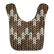 Brown Knit Graphic Pattern Bib