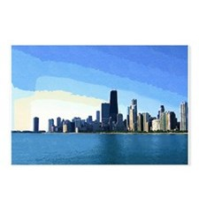 Chicago Skyline in Goache Postcards (Package of 8)