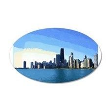 Chicago Skyline in Goache Wall Decal