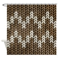 Brown Knit Graphic Pattern Shower Curtain