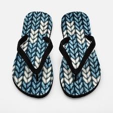 Blue Knit Graphic Pattern Flip Flops