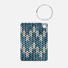 Blue Knit Graphic Pattern Keychains