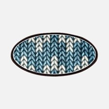 Blue Knit Graphic Pattern Patches