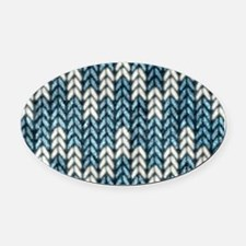 Blue Knit Graphic Pattern Oval Car Magnet