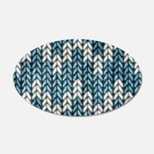 Blue Knit Graphic Pattern Wall Decal