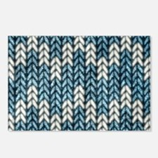 Blue Knit Graphic Pattern Postcards (Package of 8)