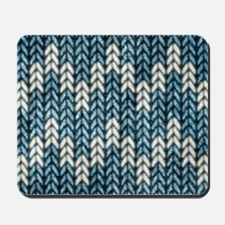 Blue Knit Graphic Pattern Mousepad