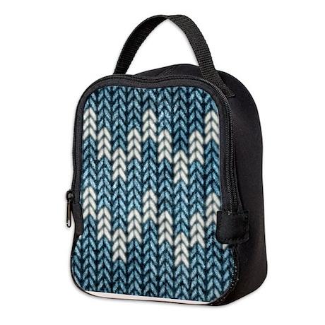Blue Knit Graphic Pattern Neoprene Lunch Bag by artandornament