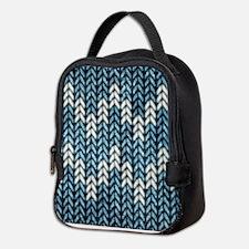 Blue Knit Graphic Pattern Neoprene Lunch Bag