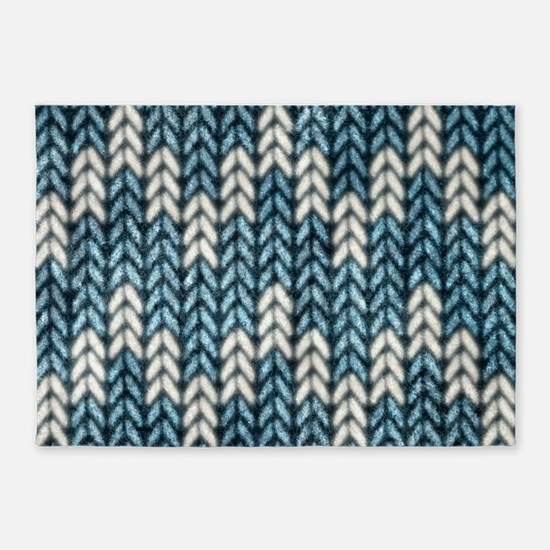 Blue Knit Graphic Pattern 5'x7'Area Rug