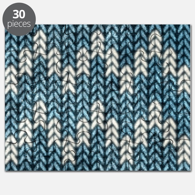Blue Knit Graphic Pattern Puzzle