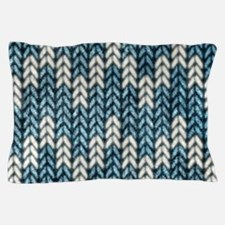 Blue Knit Graphic Pattern Pillow Case