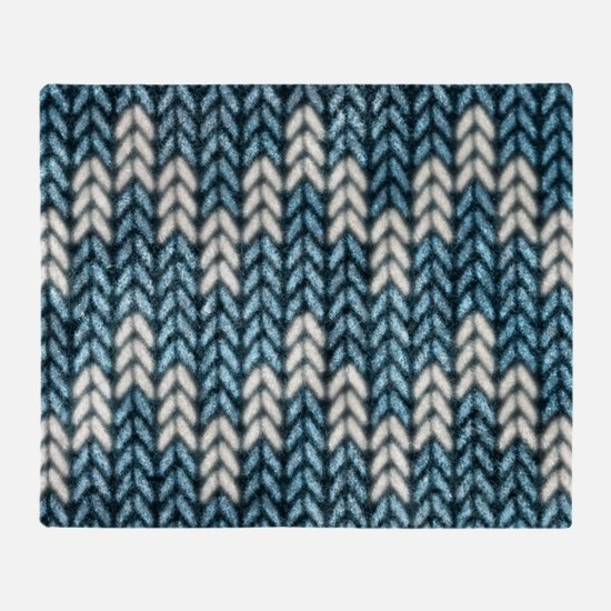 Blue Knit Graphic Pattern Throw Blanket