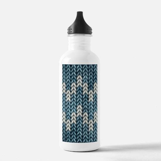 Blue Knit Graphic Pattern Water Bottle