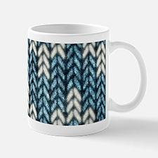 Blue Knit Graphic Pattern Mugs